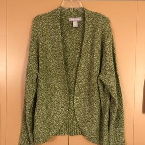 Modern Soul Sweaters - Green and white Modern Soul open-front sweater 1X
